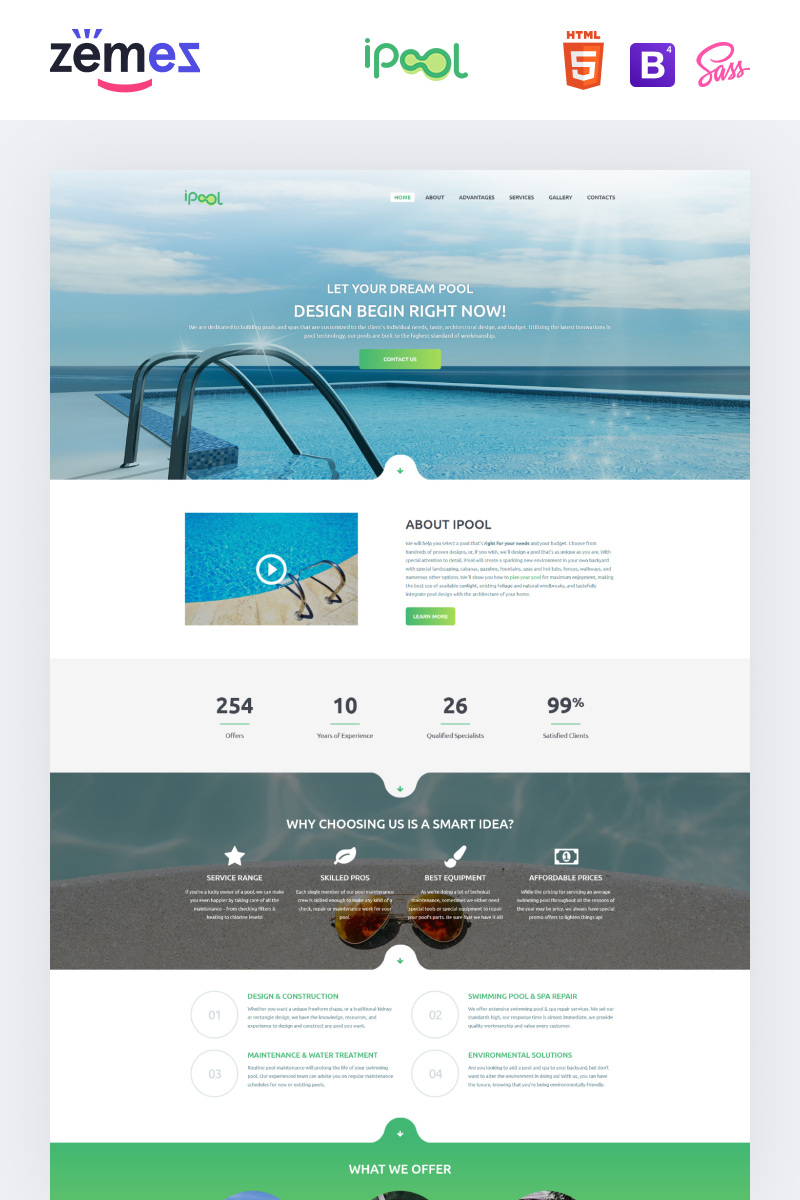 iPool - Pool Design HTML Landing Page Template