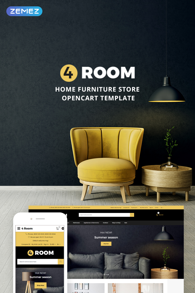 4 Room - Home Furniture Store OpenCart Template