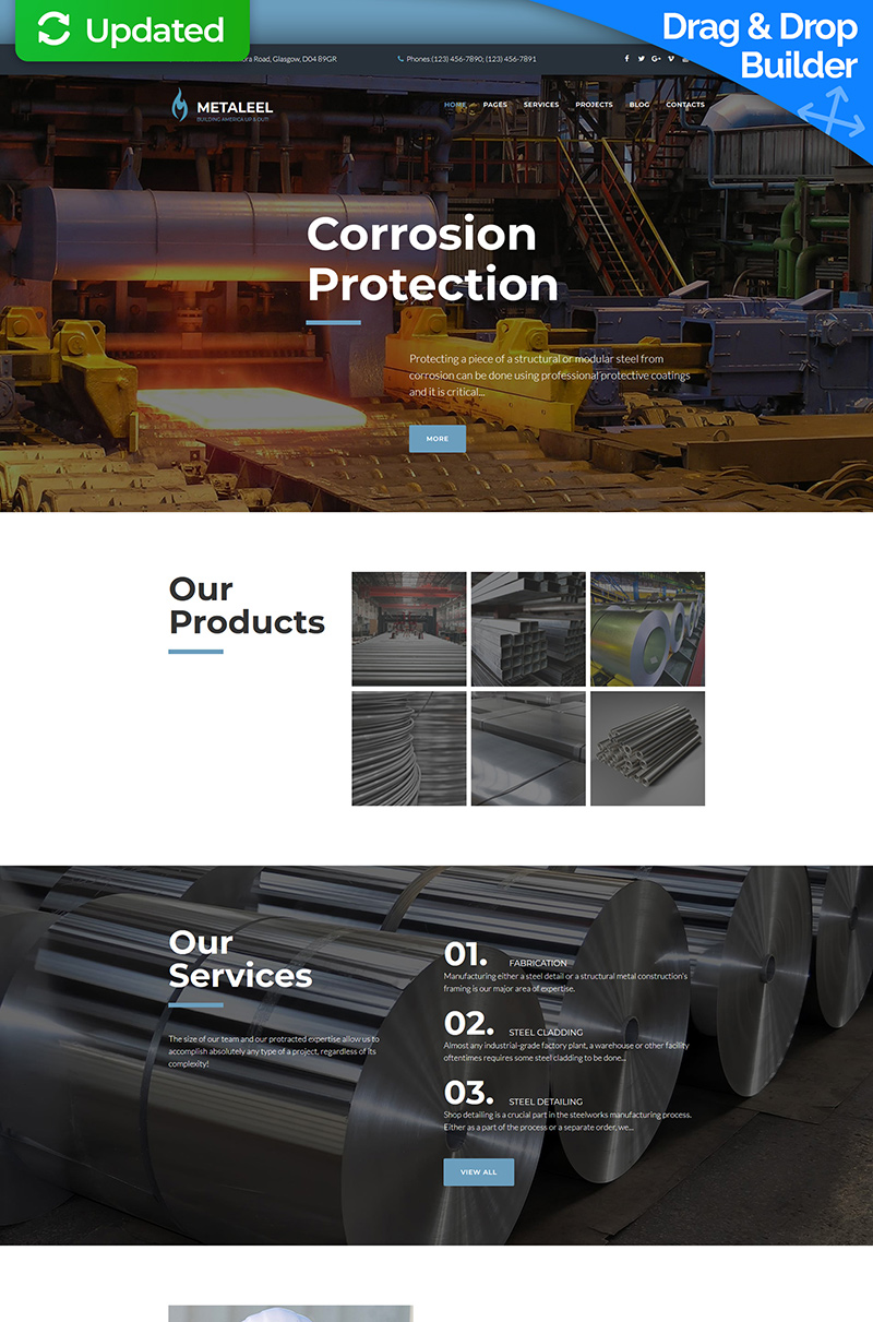 Metaleel - Steel Company Moto CMS 3 Template