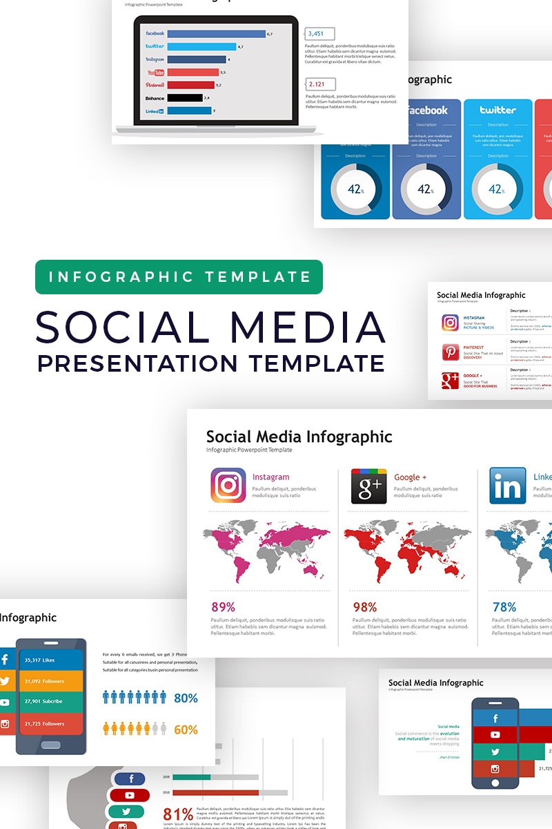 Social Media Presentation - Infographic PowerPoint Template