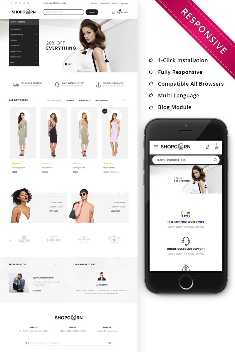 Shopcorn - Fashion OpenCart Template