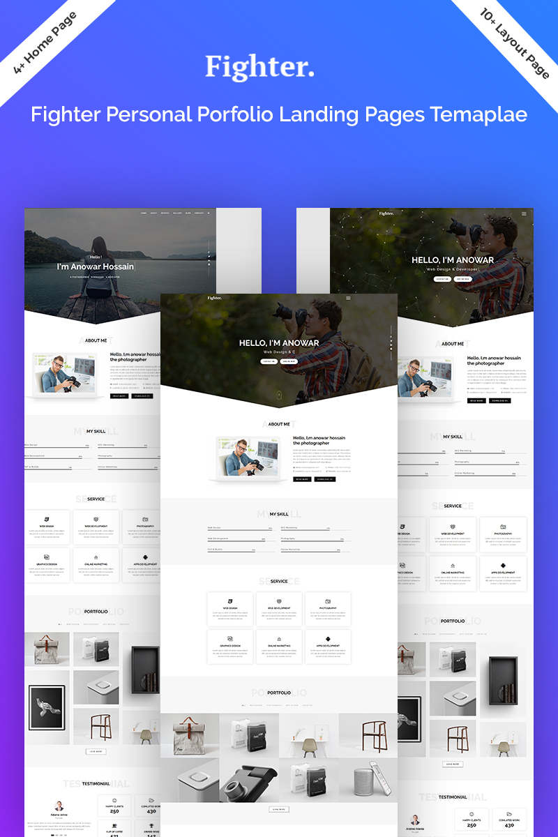 Fighter Personal Portfolio HTML5 Landing Page Template