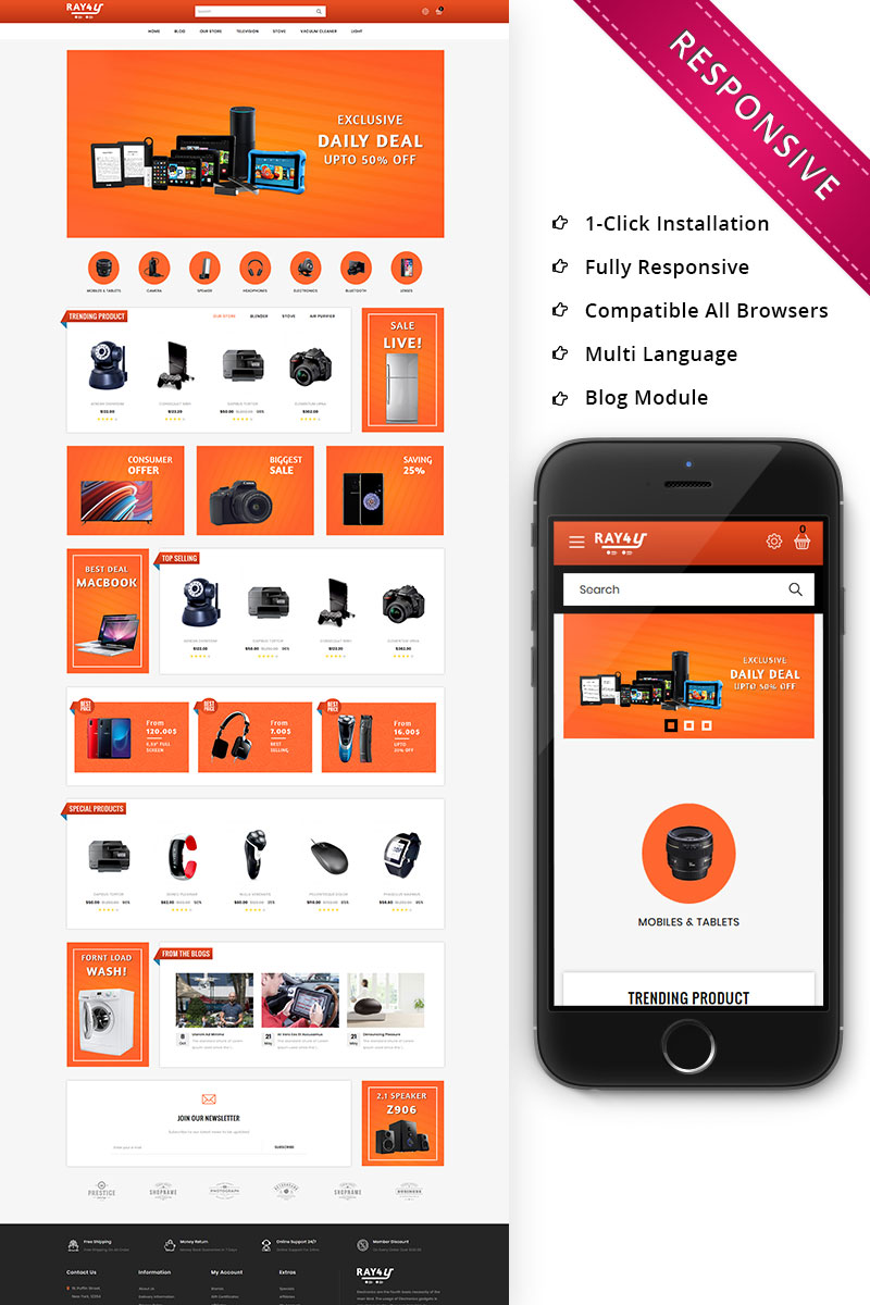 Ray4u Electronic Store Responsive OpenCart Template