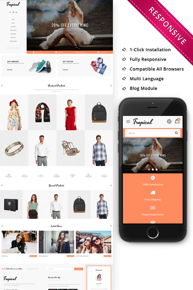 Tropical Fashion Store Responsive OpenCart Template
