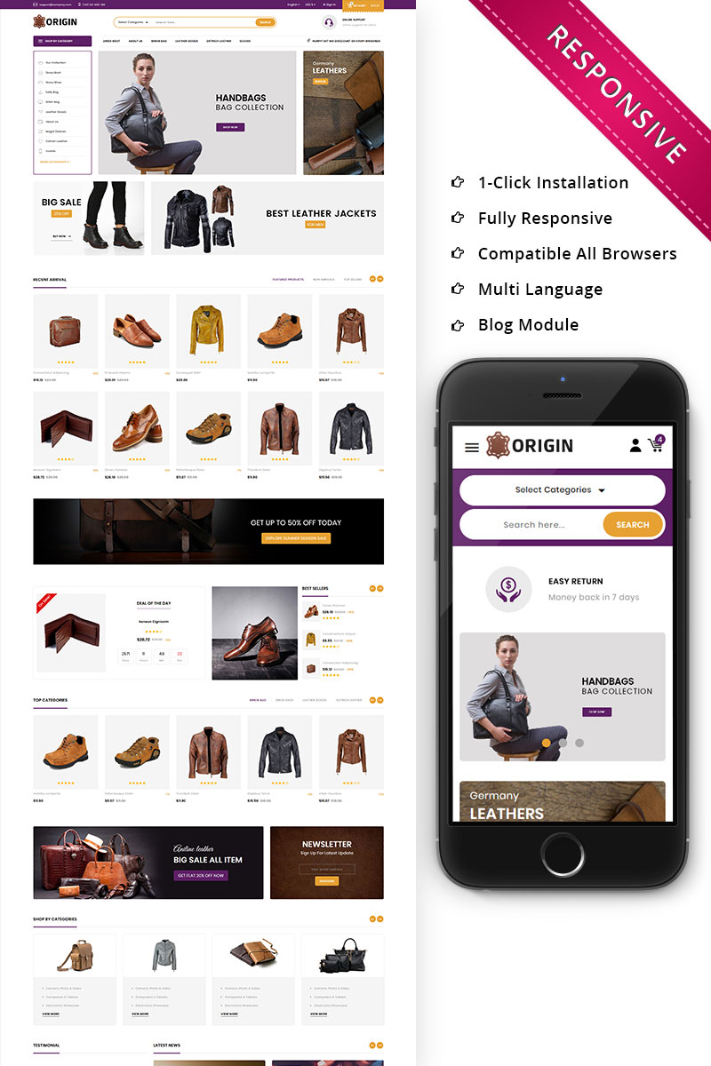 Origin Leather Market - Responsive PrestaShop Theme