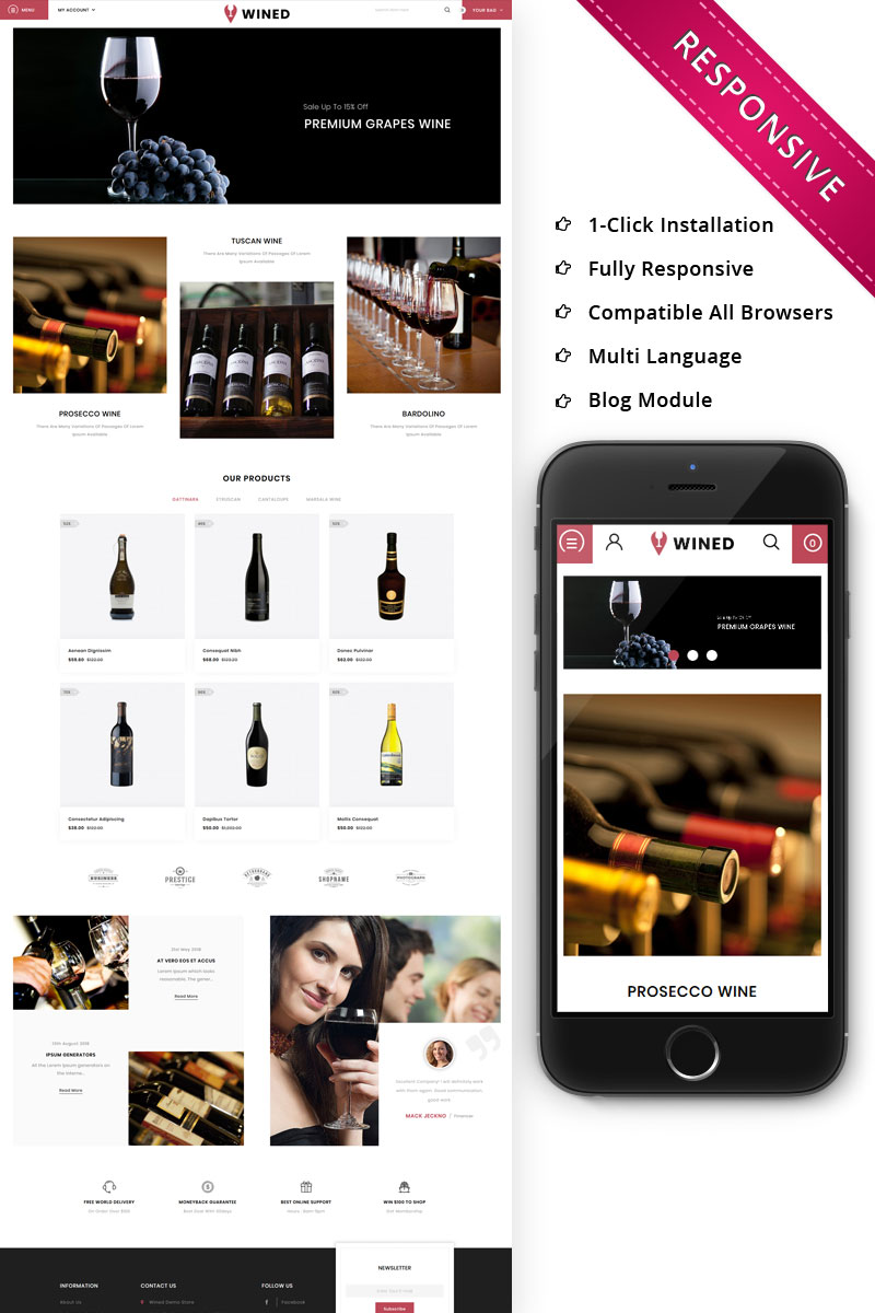 Wined - The Wine Shop OpenCart Template