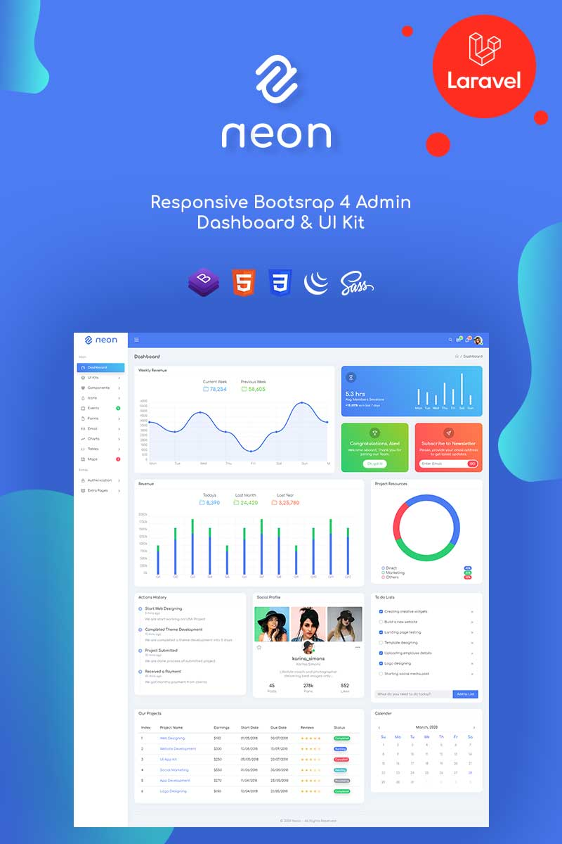 Neon - Responsive Bootstrap & Laravel Admin Template
