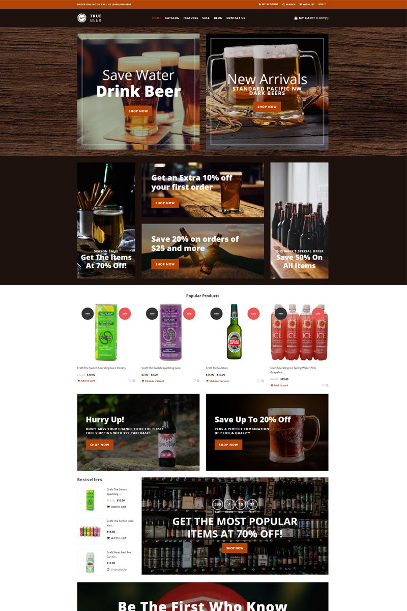 TrueBeer - Stylish Functional Bootstrap Shopify Theme