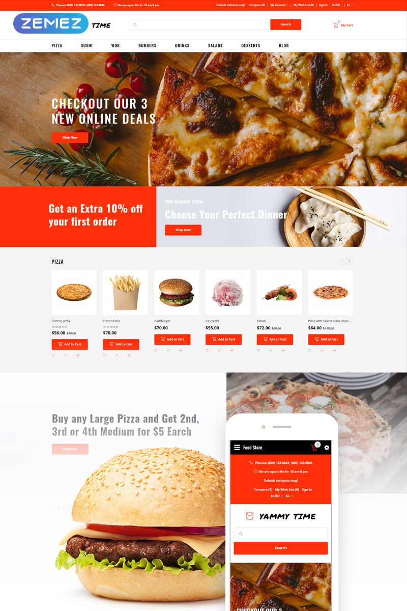 Yammy Time - Food Delivery Store Modern OpenCart Template