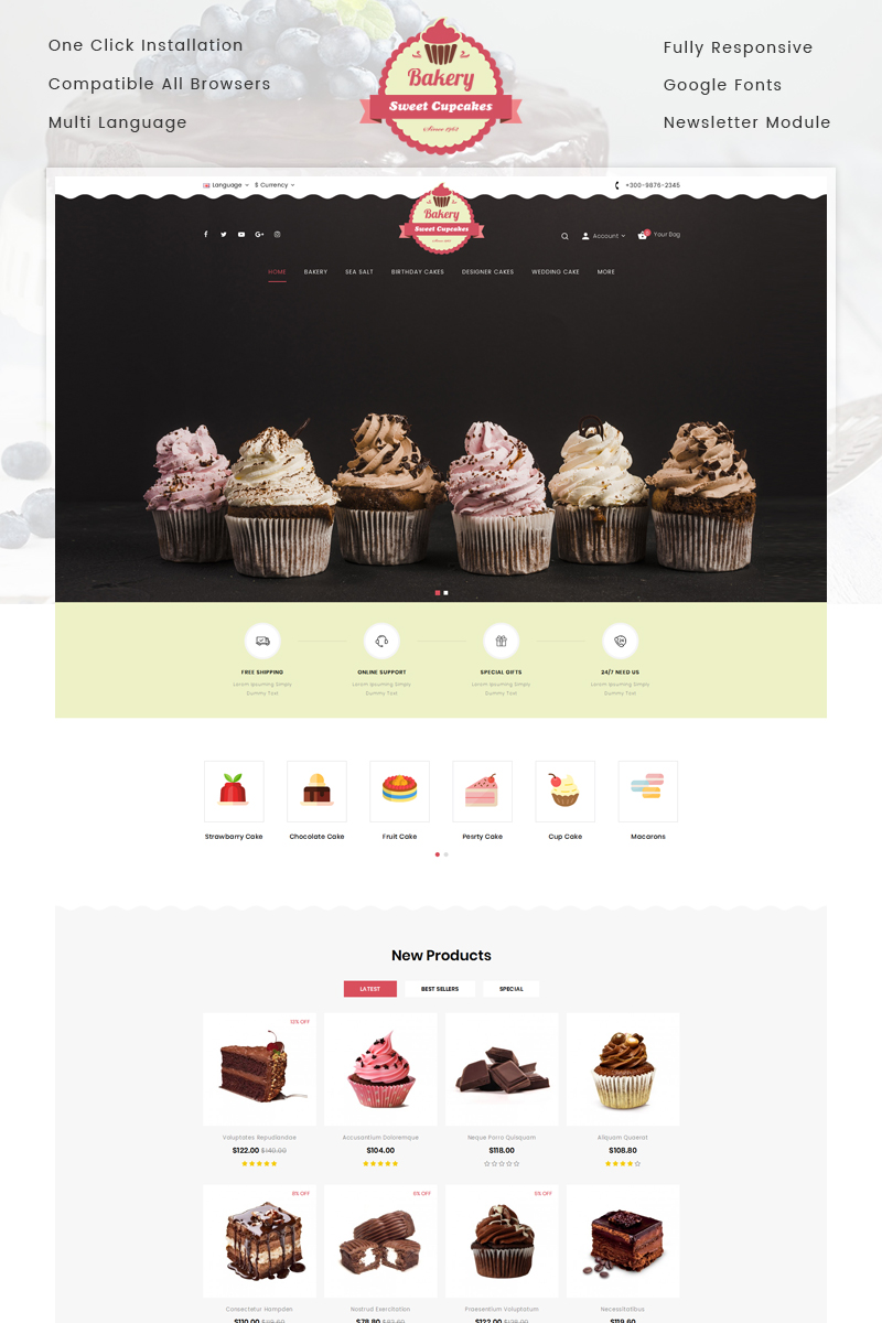 Bakery Sweet Cupcakes Store OpenCart Template
