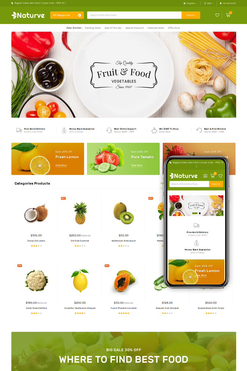 Naturve Vegetable Store Magento Theme