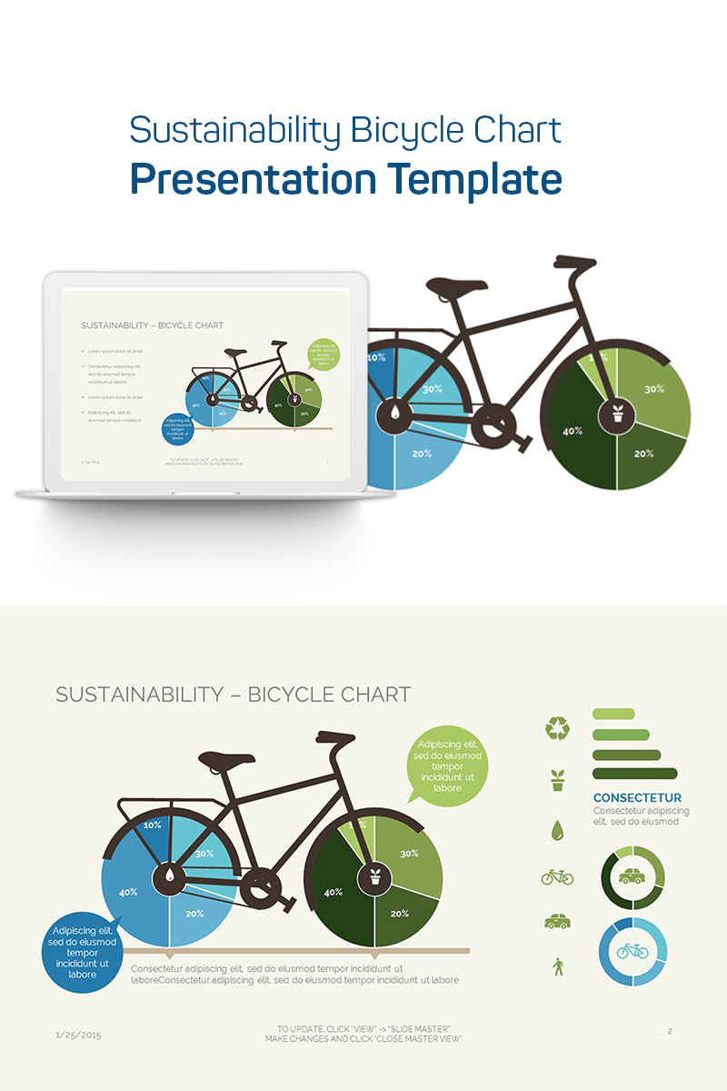 Sustainability Bicycle Chart PowerPoint Template
