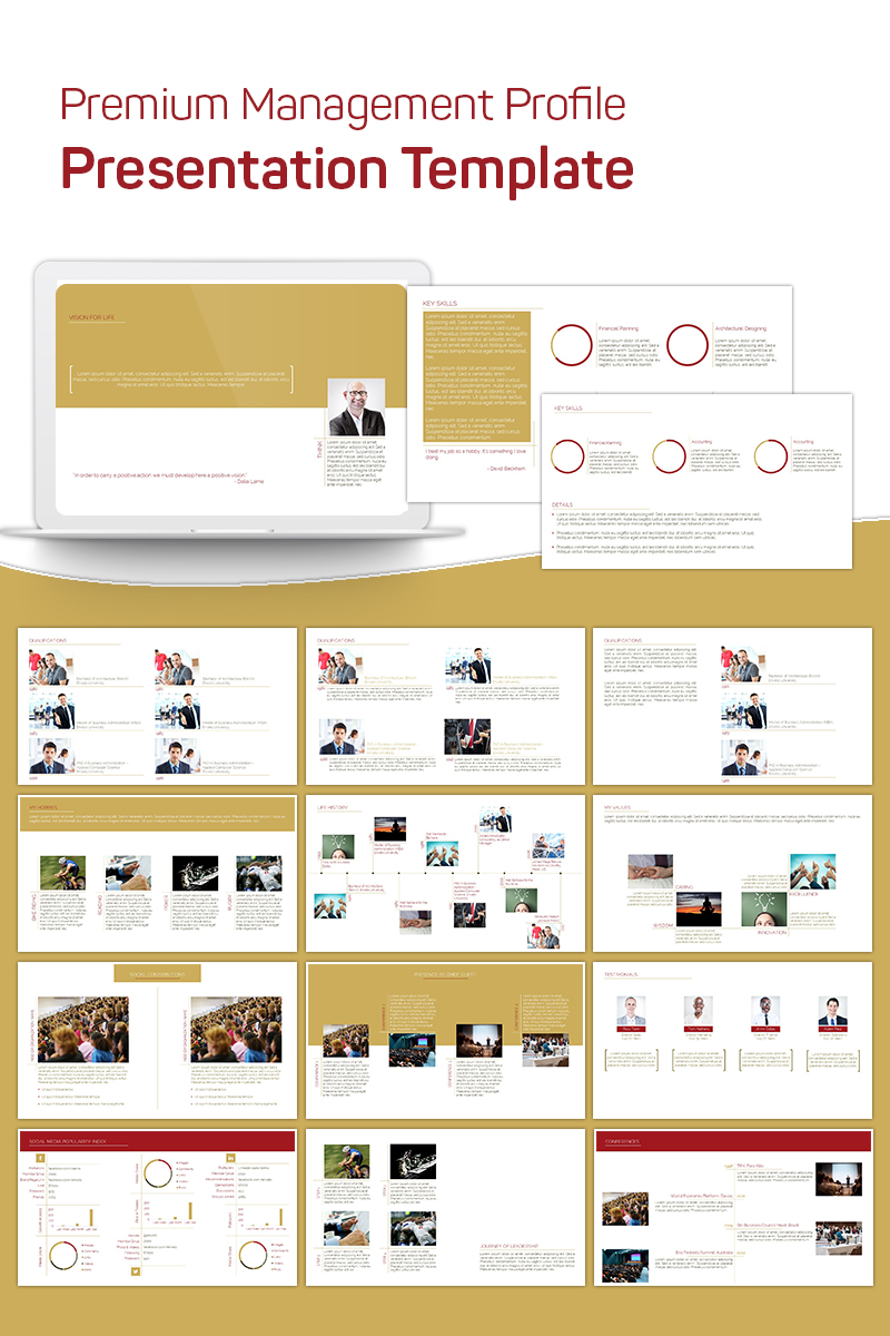 Premium Management Profile PowerPoint Template