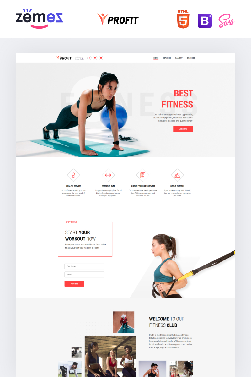 Profit - Sport One Page Minimal Bootstrap4 HTML Landing Page Template