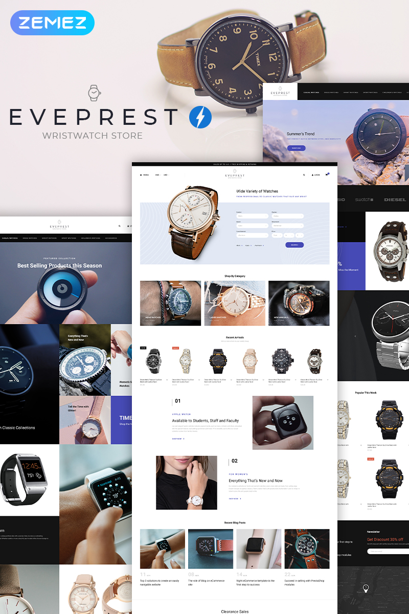 Eveprest Wristwatch - Watches Modern Ecommerce Bootstrap PrestaShop Theme