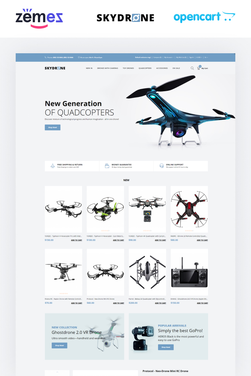 Skydrones - Quadcopter Responsive Elegant OpenCart Template