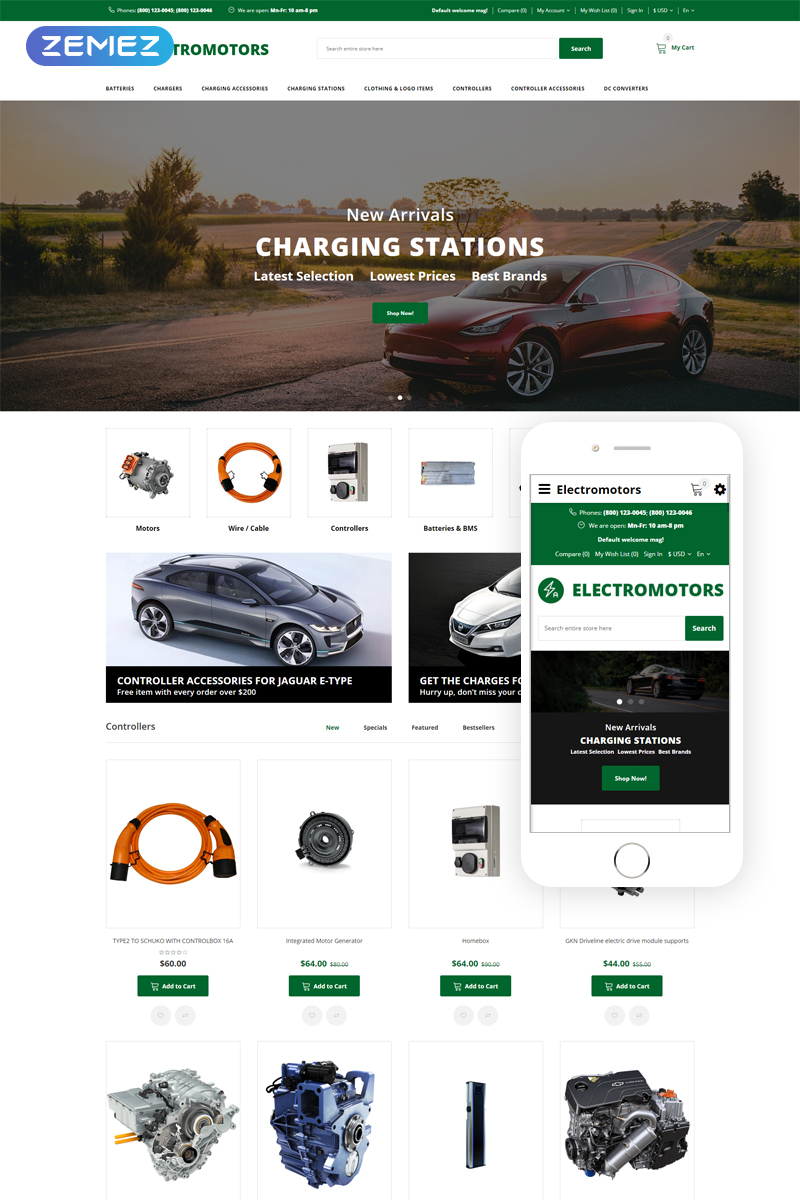 Electromotors - Car Parts Responsive Simple OpenCart Template