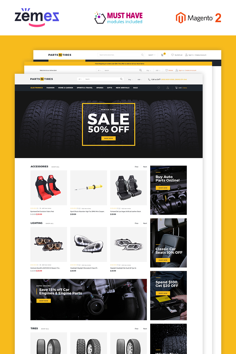 Parts'n'Tires - Car Tuning eCommerce Template Magento Theme