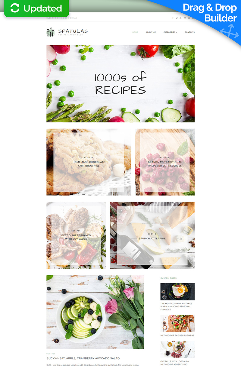 Spatulas - Recipe & Food Blog Moto CMS 3 Template
