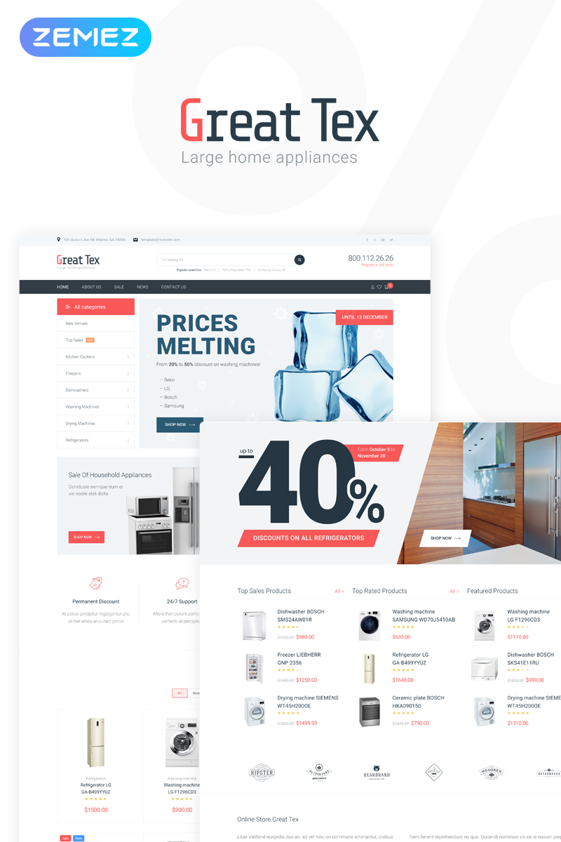 Great Tex - Home Appliances Online Store Multipurpose Clean Elementor WooCommerce Theme