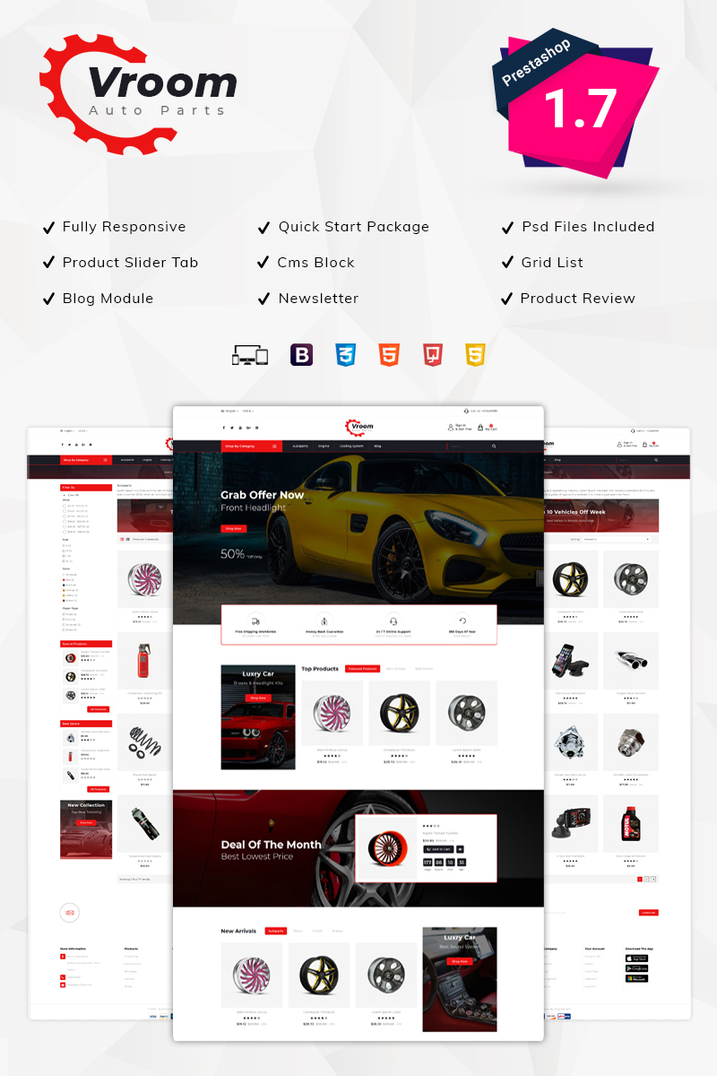 Vroom -Auto Parts Store PrestaShop Theme