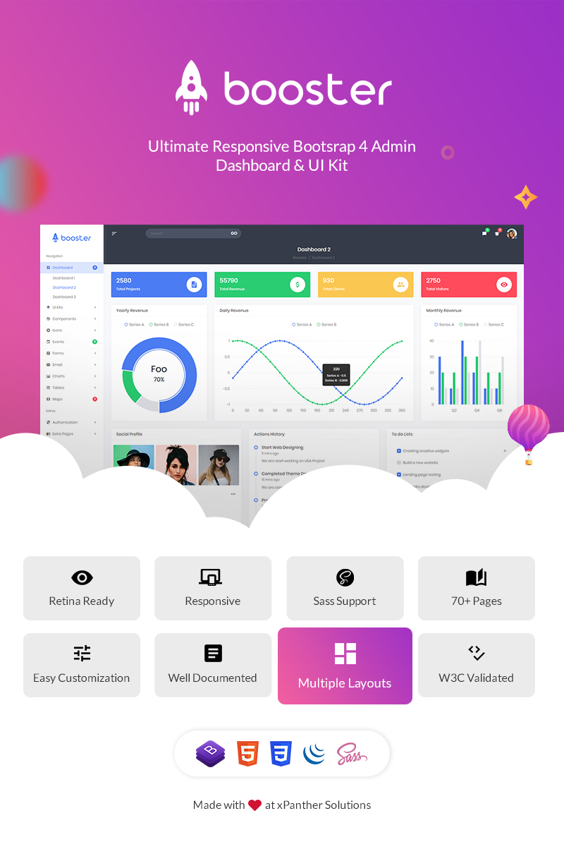 Booster - Bootstrap + Laravel Dashboard Admin Template