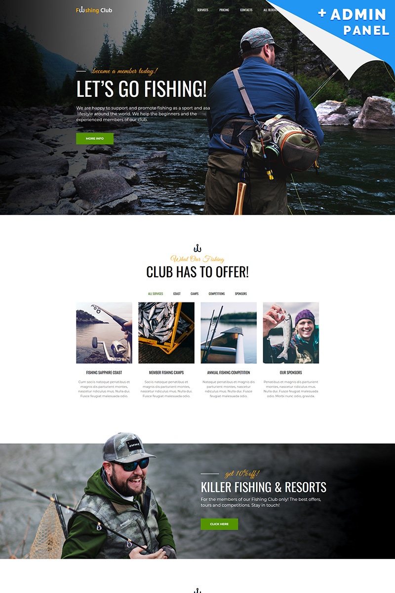 Fishing Club Landing Page Template