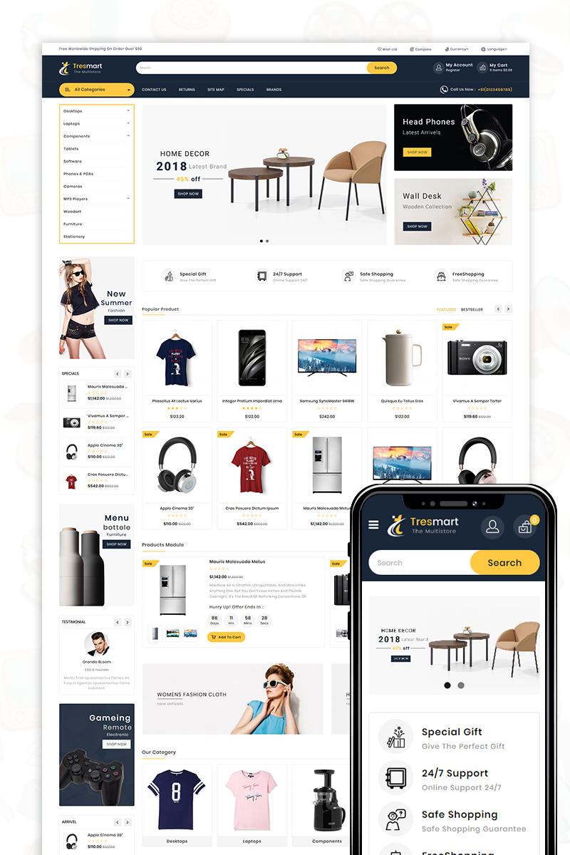 Tresmart - The Shopping Mall OpenCart Template