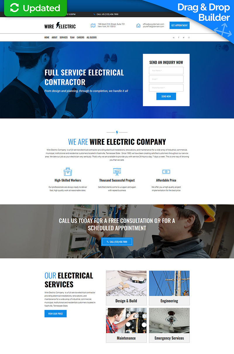 Wire Electric Landing Page Template