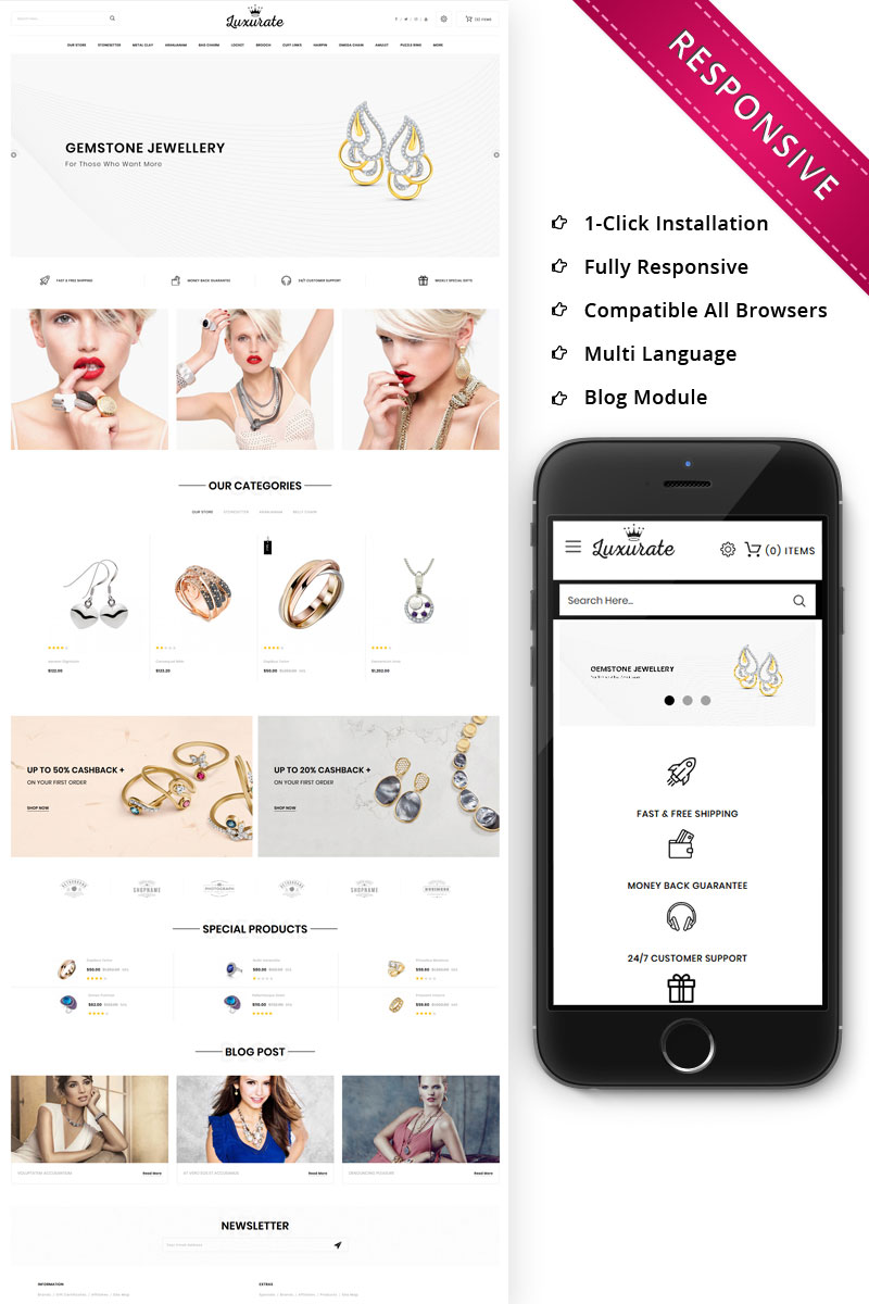 Luxurate - The Jewellery Store Responsive OpenCart Template