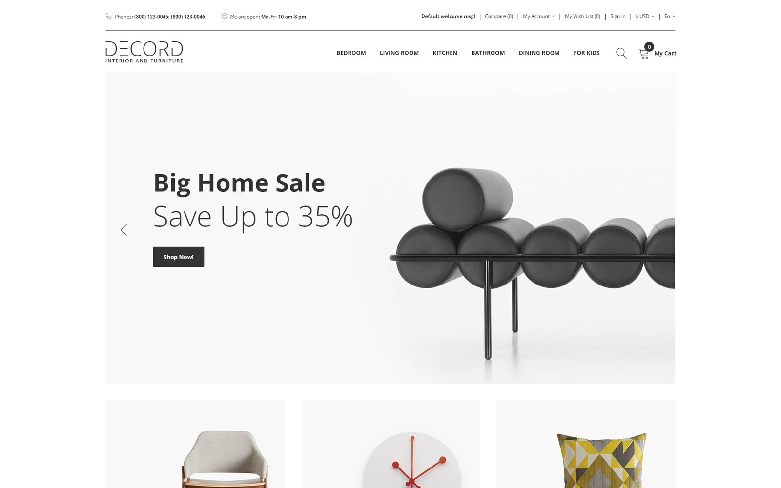 Decord - Interior And Furniture Store Clean OpenCart Template