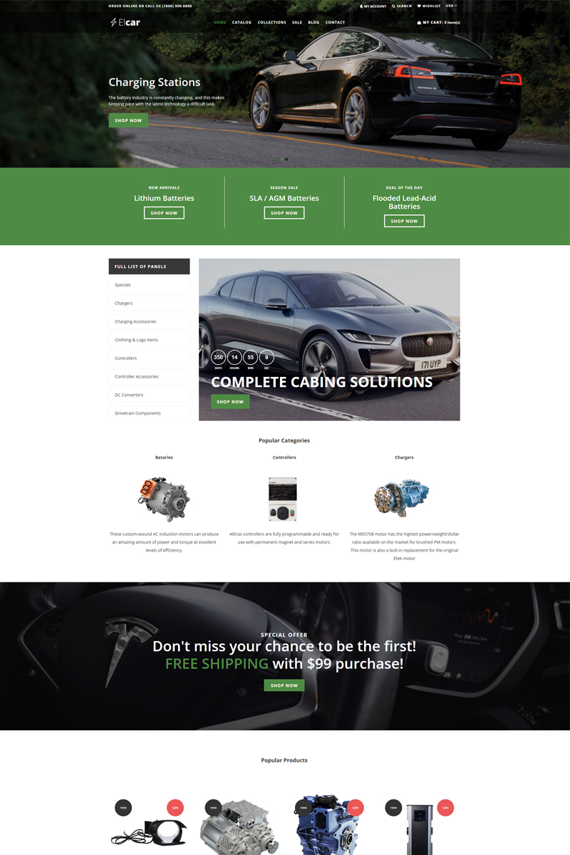 Elcar - Electric Cars Spare Parts Clean Shopify Theme