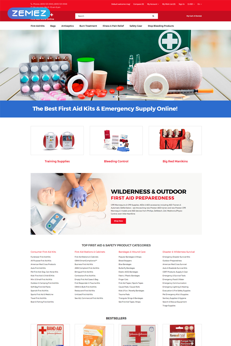 Health+ - First Aid Online Store Clean OpenCart Template