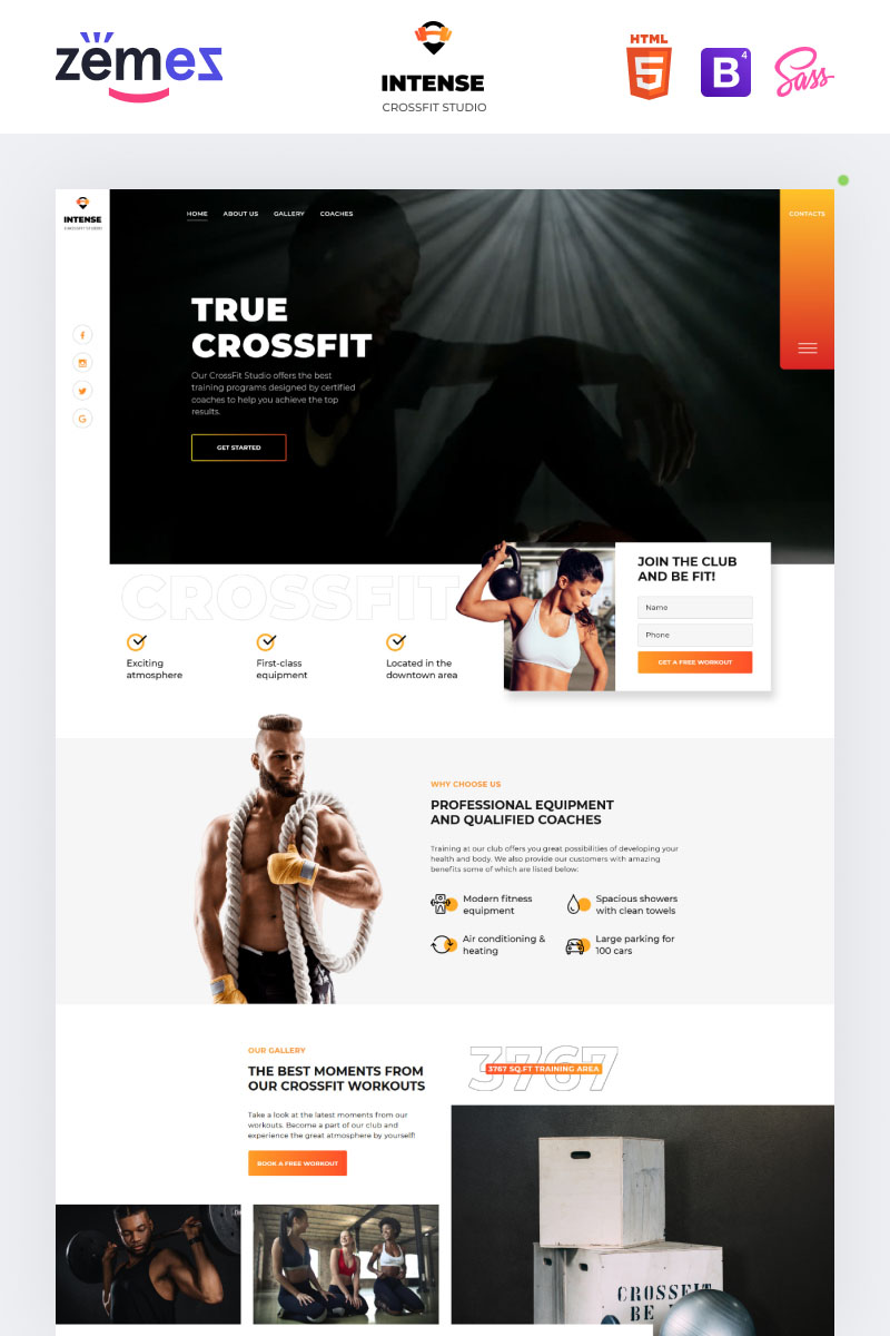 Power - CrossFit Studio One Page Creative HTML5 Landing Page Template