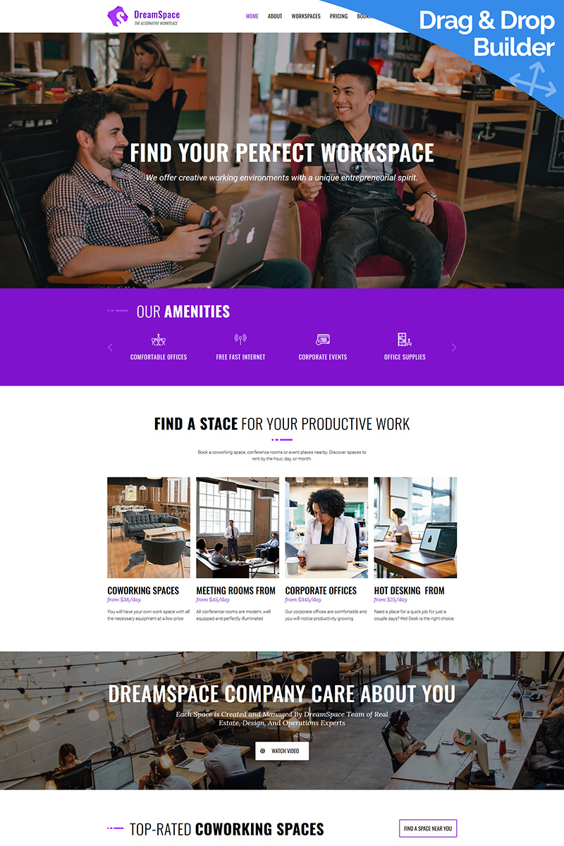 DreamSpace - Coworking Moto CMS 3 Template