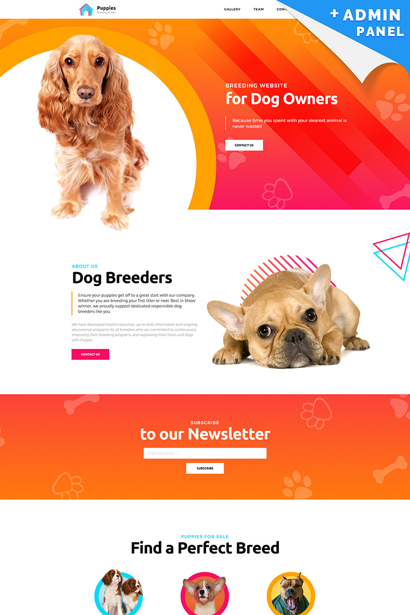 Puppies - Dog Breeder Landing Page Template