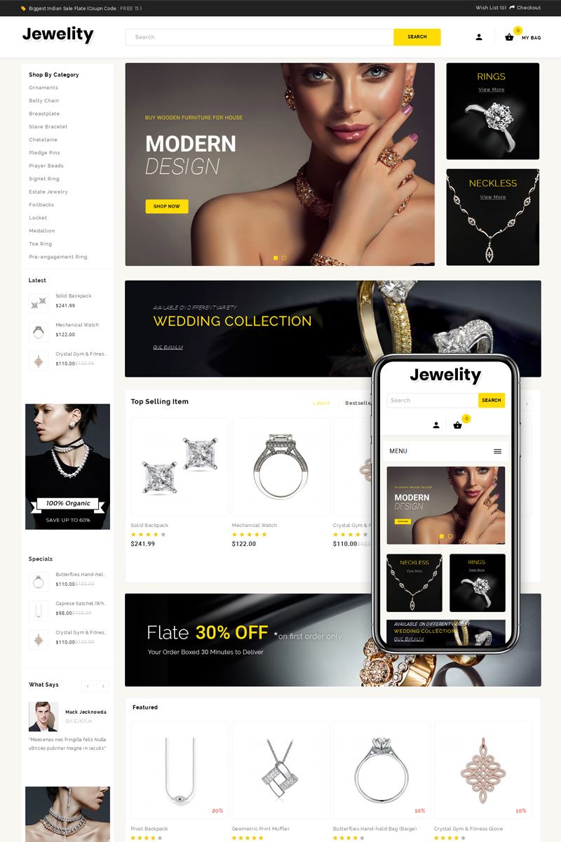 Jewelity - Jewelry & Accessories Store OpenCart Template
