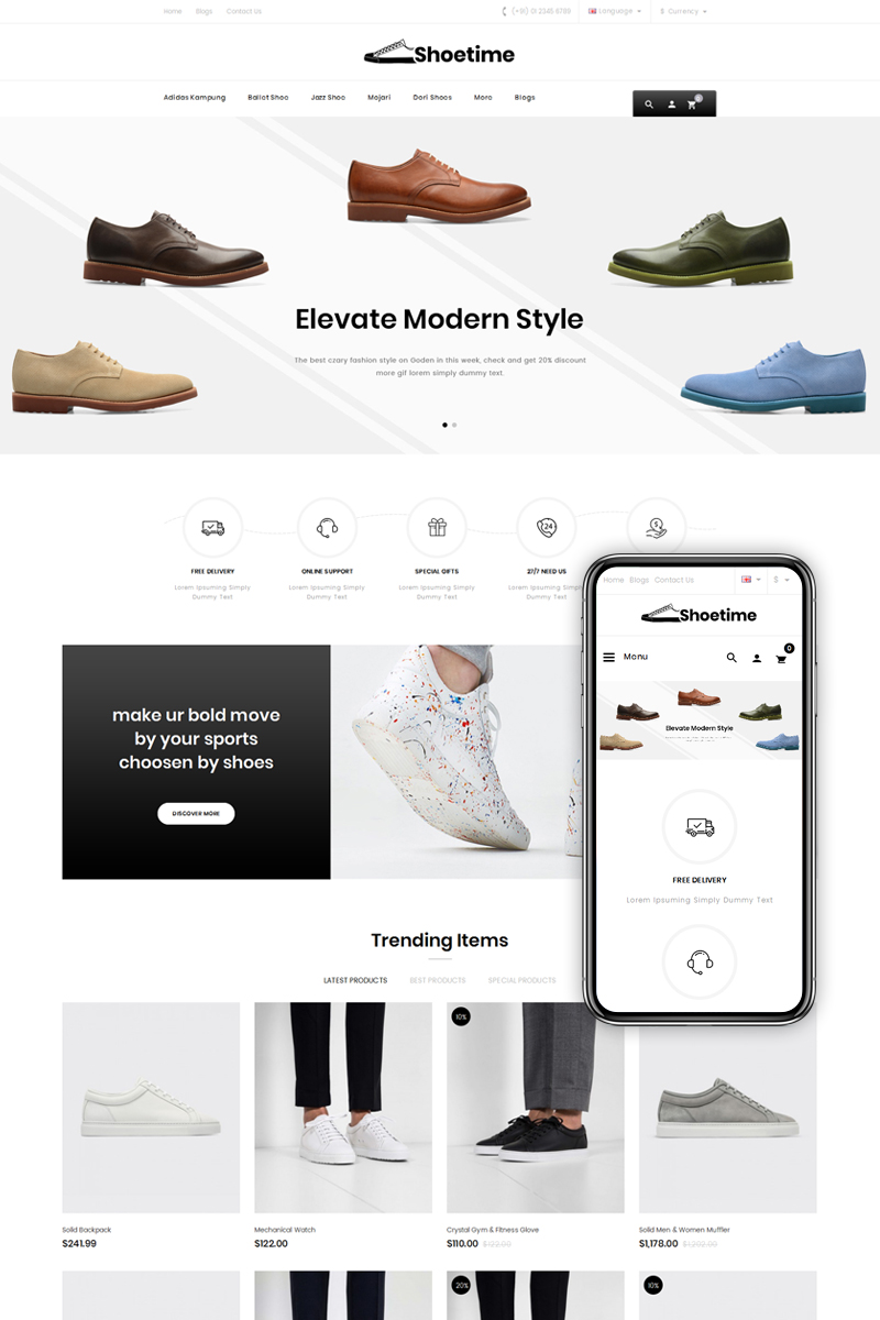 Shoetime - Shoes Store OpenCart Template