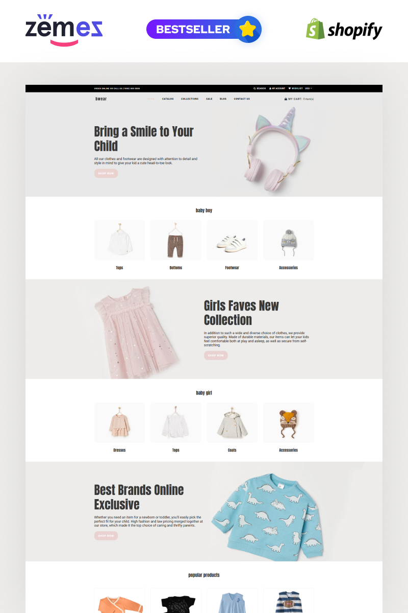 Bwear - Baby Clothing Store Modern Shopify Theme