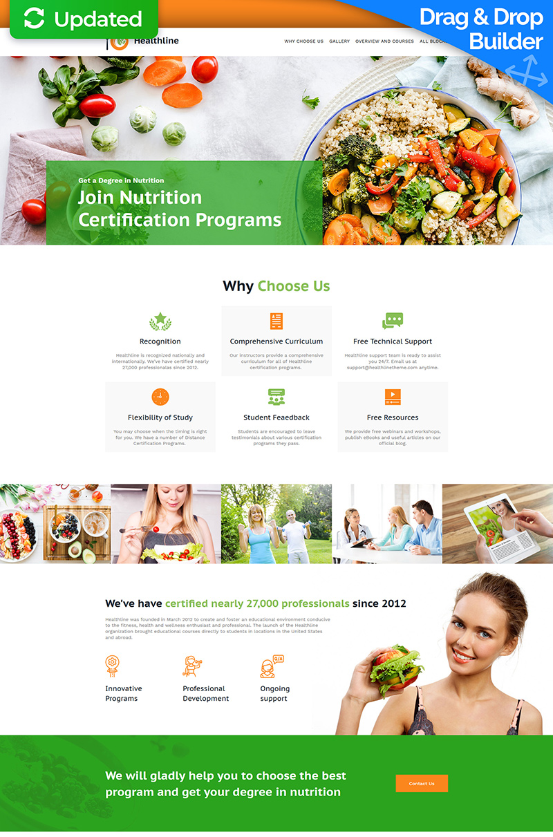 Healthline - Nutrition Landing Page Template