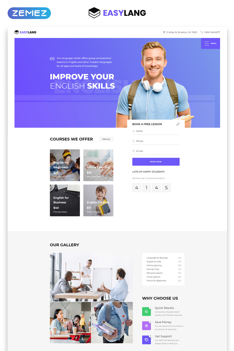 Easylang Language School One Page Clic Html Landing Template