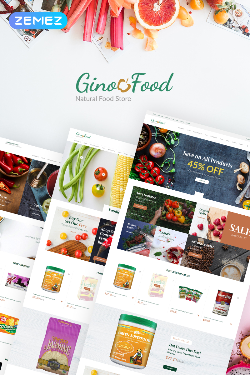 GinoFood - Organic Food Store Clean PrestaShop Theme