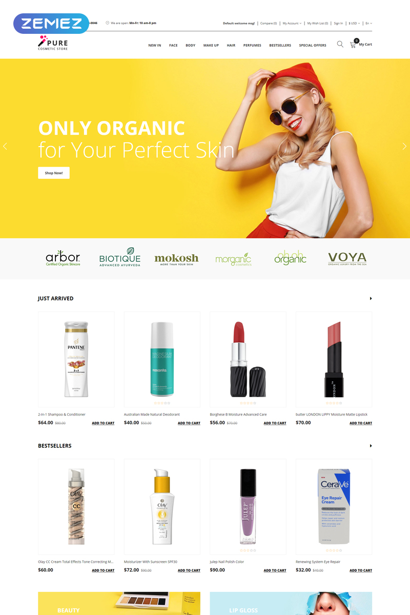 Pure - Beauty Supply Clean OpenCart Template
