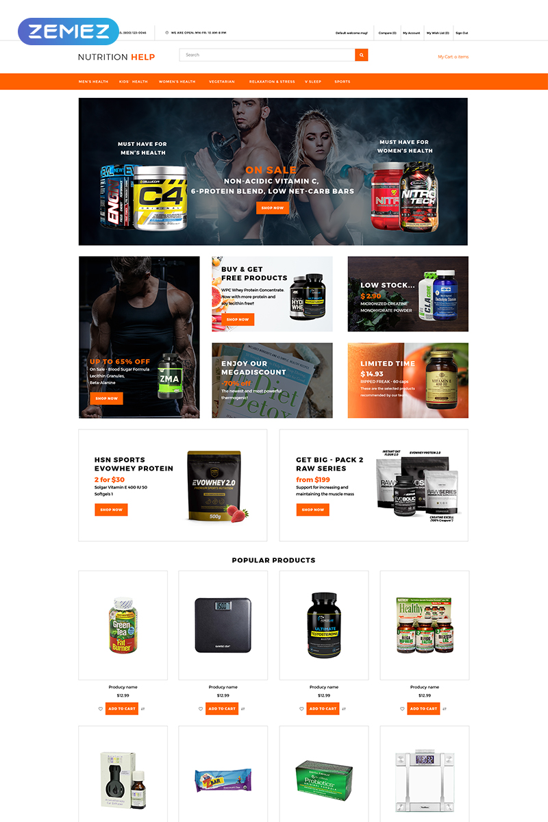 Nutrition Help - Sports Food Store Clean OpenCart Template