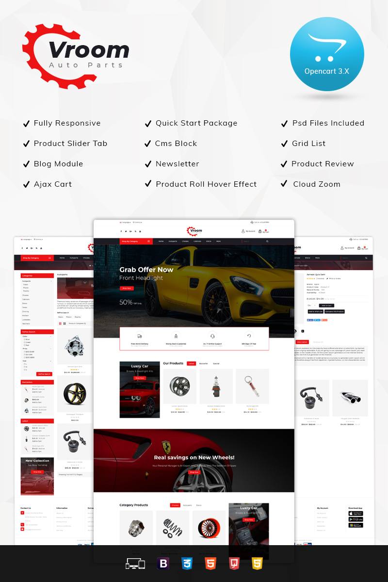 Vroom Auto Spare-Parts Store OpenCart Template