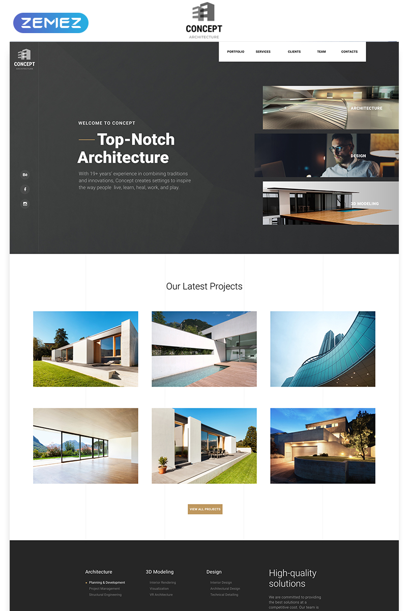Concept - Architecture Creative HTML Bootstrap Landing Page Template