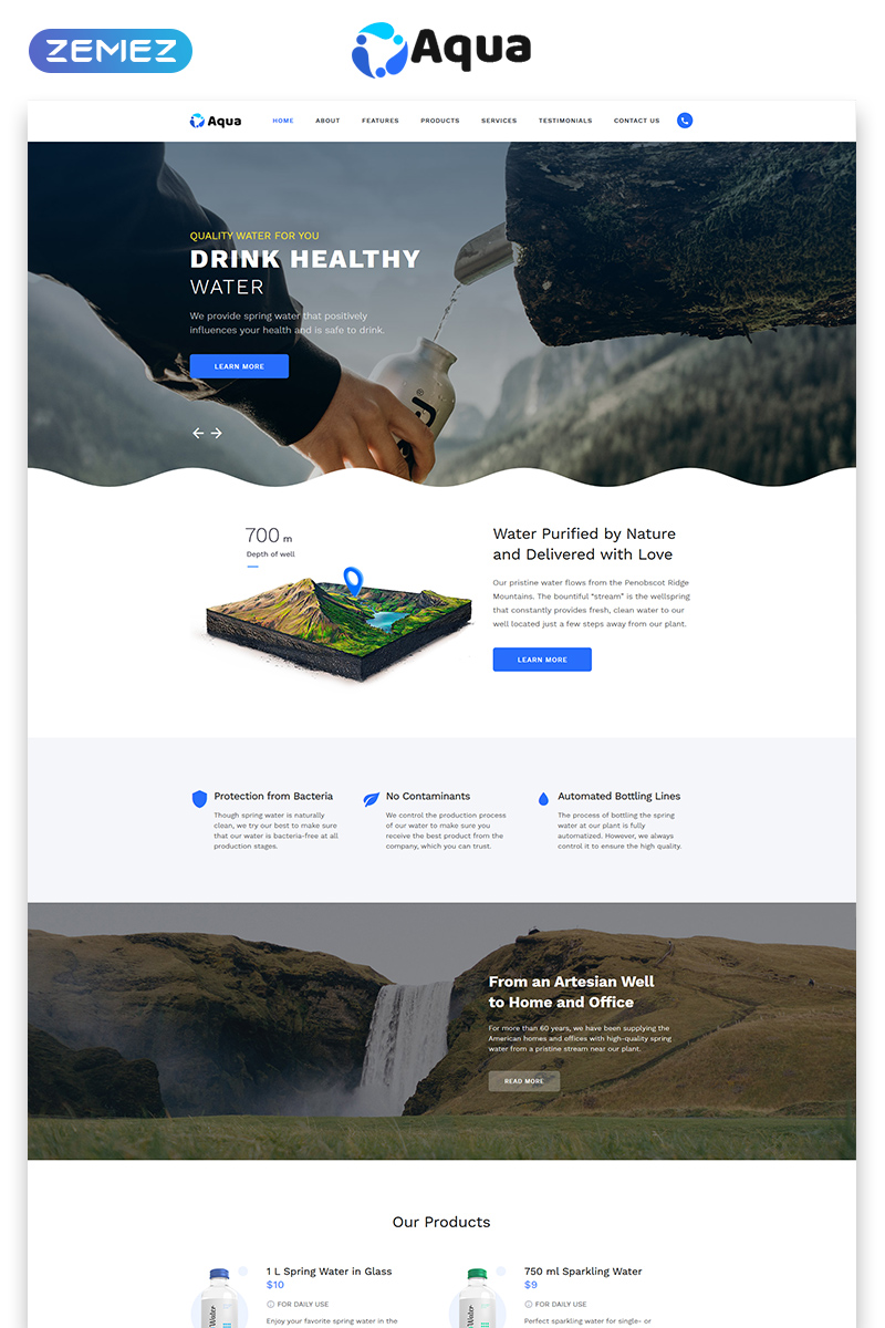 Aqua - Water Clean HTML Bootstrap Landing Page Template