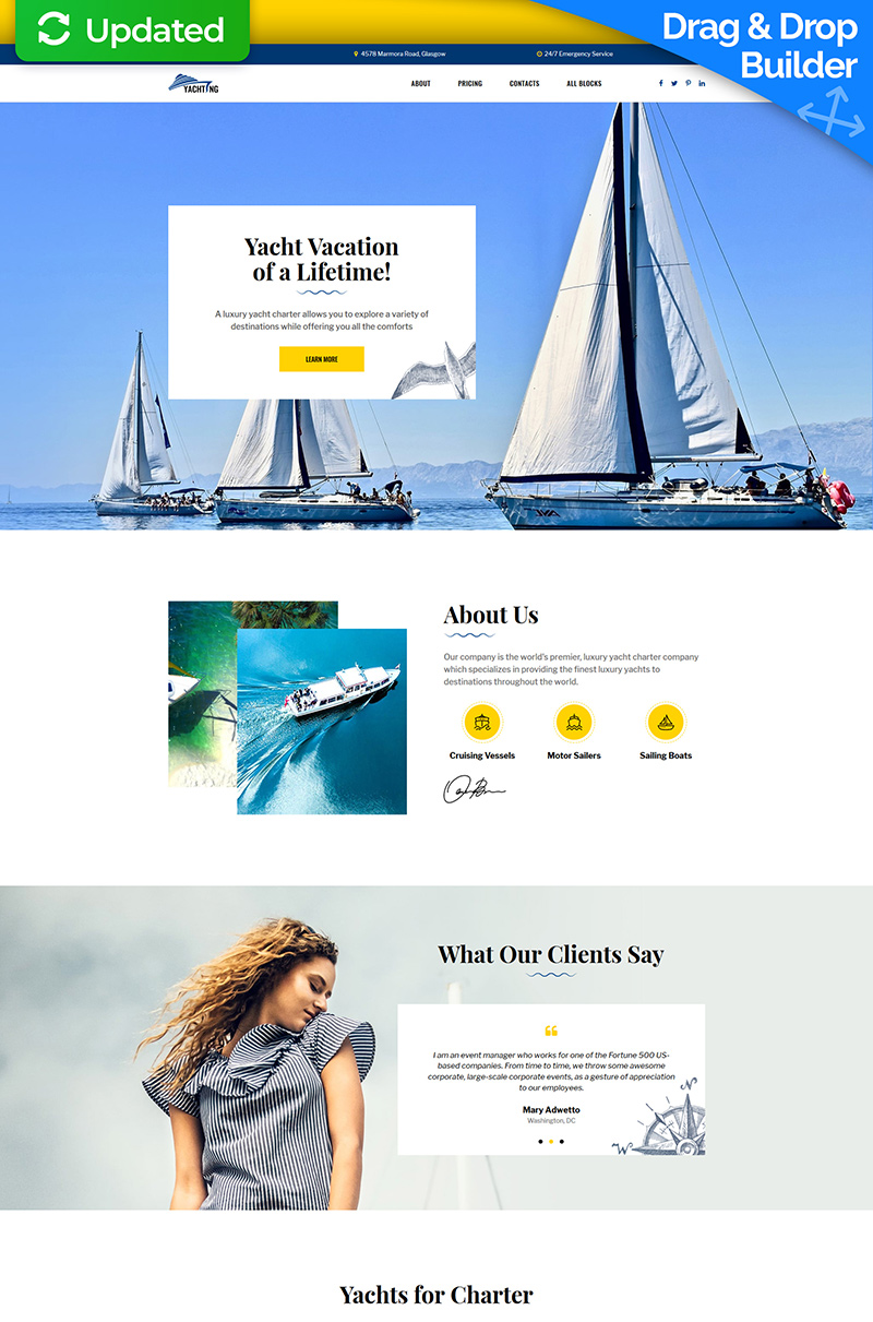 Yachting - Yacht Club Landing Page Template