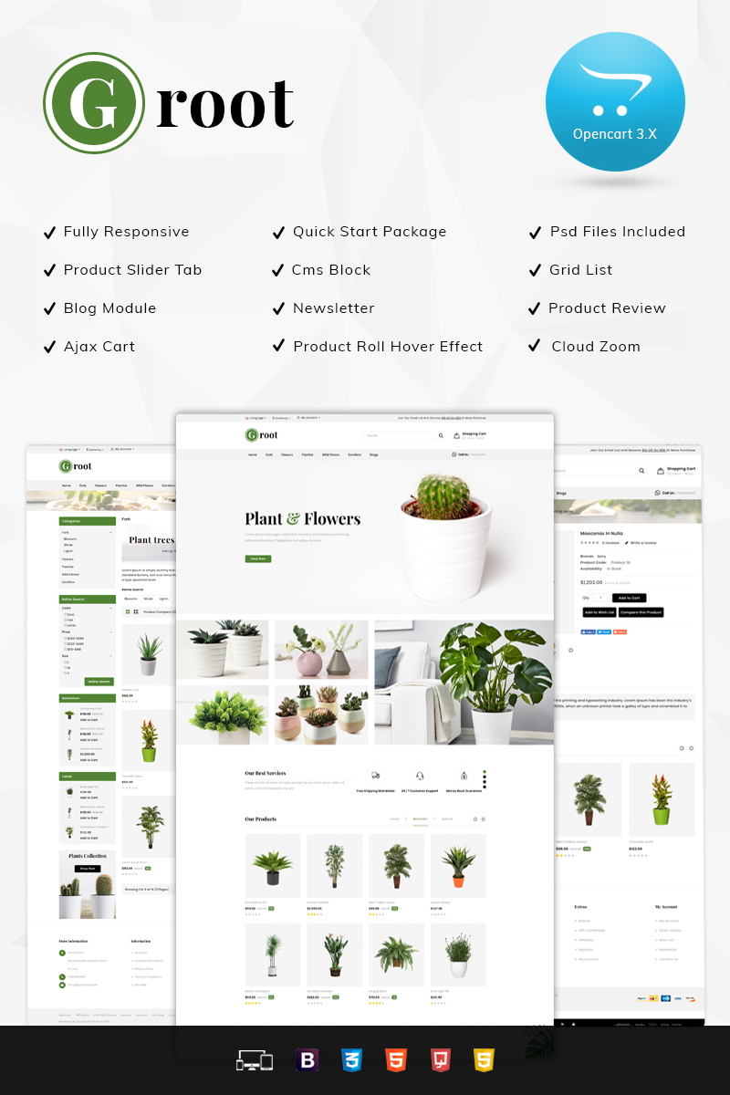 Groot Nursery Store - Responsive OpenCart Template