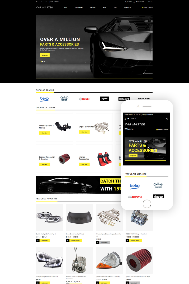 Car Master - Auto Parts Multipage Creative Shopify Theme